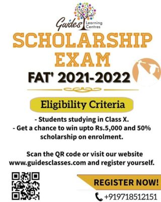 Grab your chance to win scholarship by writing Foundation Assessment Test with us.  Hurry limited seats available!!  For more details- Call: +919718512151